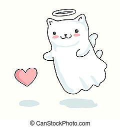 kawaii, cuore, piccolo angelo, ali, gatto, giapponese, stile, dipinto, cartone animato, alone