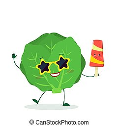 Kawaii cute cabbage vegetable character in sunglasses star in the hands of a colorful ice cream. Logo, template, design. Vector illustration, flat style