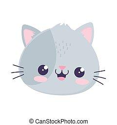 kawaii cute cat face cartoon isolated icon