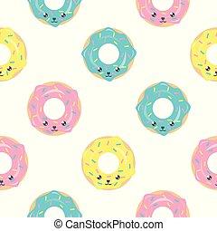 kawaii, cute, donuts., tecido, têxtil, padrão, infantil, seamless, textura, criativo, papel parede