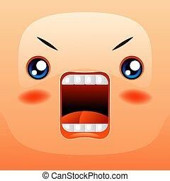 Kawaii cute face. Funny angry muzzle. Eyes mouth and cheeks.
