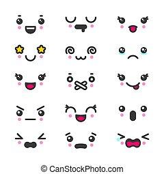 Kawaii cute faces emoticons icon vector set