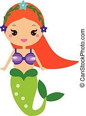 kawaii, cute, firmanavnet, karakter, mermaid., cartoon