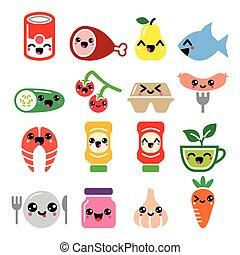 Kawaii cute food characters - meat, vegetables, fruit icons set