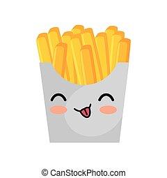 kawaii cute french fries box icon