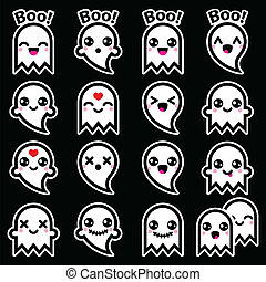Kawaii cute ghost Halloween icons - Vector icons set of cute...