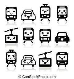 Kawaii cute icons - car, bus, train