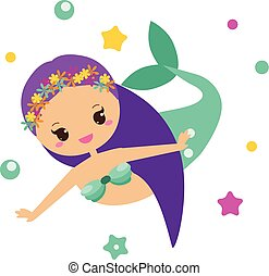 kawaii, cute, karakter, mermaid., illustration, style., vektor, cartoon