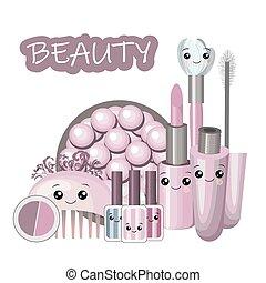 kawaii, cute, kvinde, sæt, fløde, skønhed, lejlighed, begreb, piger, -, tilbehør, illustration, zeseed, vektor, kosmetikker, materiale, parfume, cartoon