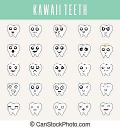 kawaii, cute, pequeno, jogo, emoticons, modernos, web., icons., style., vetorial, ilustração, limpo, dentes, desenho, emoji