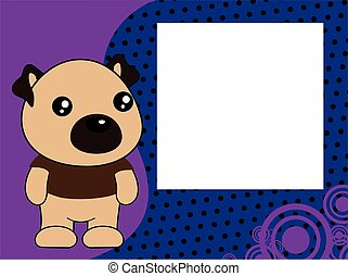 kawaii cute pug dog cartoon picture frame background
