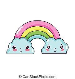 kawaii cute rainbow and clouds weather