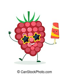 Kawaii cute raspberries character in sunglasses star in the hands of a colorful ice cream. Logo, template, design. Vector illustration, flat style
