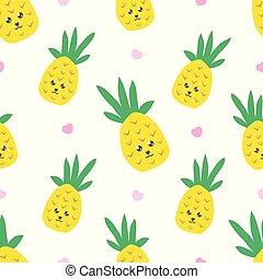 kawaii, cute, tecido, têxtil, padrão, infantil, seamless, textura, criativo, papel parede, pineapple.