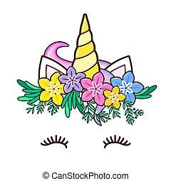 Kawaii cute unicorn horn, funny colorful cartoon.