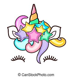 Kawaii cute unicorn horn, funny colorful cartoon.