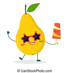 Kawaii cute yellow pear fruit character in sunglasses star in the hands of a colorful ice cream. Logo, template, design. Vector illustration, flat style
