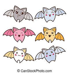 kawaii, diferente, conjunto, expressions., murciélagos, ...