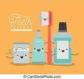 kawaii, diferente, jogo, cor, cartaz, dental, amigos, dentes, expressão, cuidado