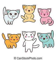 kawaii, différent, ensemble, expressions., chats, facial