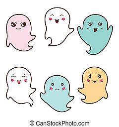 kawaii, différent, ensemble, expressions., facial, fantômes