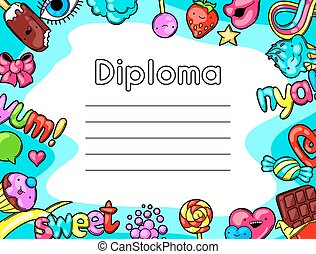 Kawaii diploma with sweets and candies. Crazy sweet-stuff in...