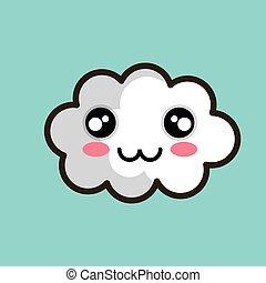 kawaii, diseño, nube, feliz