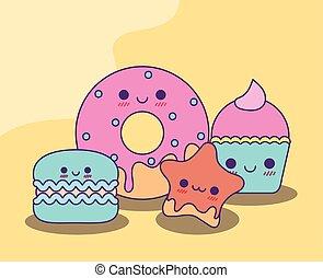 Kawaii donut cookie star and cupcake vector design