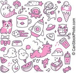 kawaii, doodle, 3, komplet, duotone