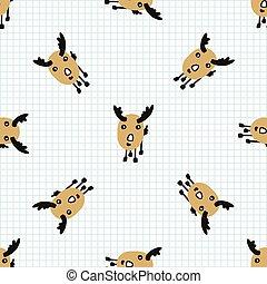 Kawaii doodle antlered deer seamless vector pattern. Hand ...