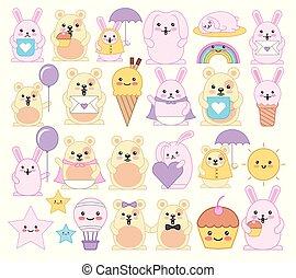 kawaii, emoticons, dieren, karakters, bundel