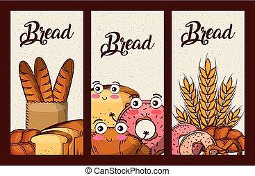 kawaii, ensemble, nourriture, frais, bannières, dessin animé, pain