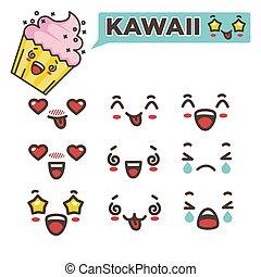 kawaii, ensemble, smileys, japonaise, illustration, vecteur,...
