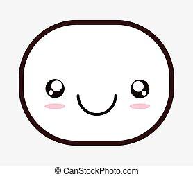kawaii face smiling design