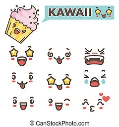 Kawaii faces with positive and negative emotions set