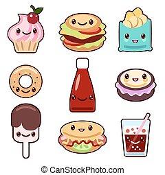 Kawaii fast food and fruit