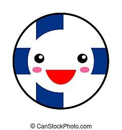 Kawaii Finn flag smile. Flat style. Cute cartoon isolated...