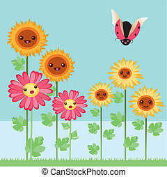 kawaii flowers and bugs - Is a EPS 10 Illustrator file