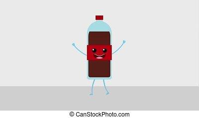 kawaii food cartoon - kawaii cartoon beverage soda bottle...