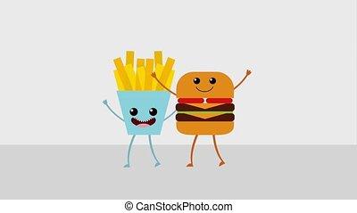 kawaii food cartoon - kawaii cartoon food burger and french...