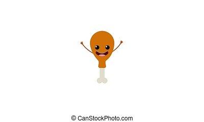 kawaii food cartoon - kawaii cartoon food chicken thigh...