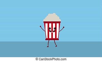kawaii food cartoon - kawaii cartoon food pop corn animation...