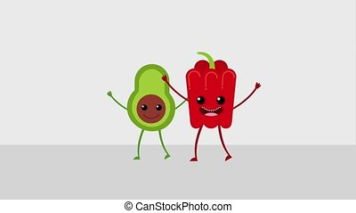 kawaii food cartoon - kawaii cartoon vegetables avocado and...