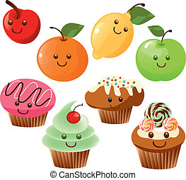 Kawaii food - Is a EPS 10 Illustrator file without...