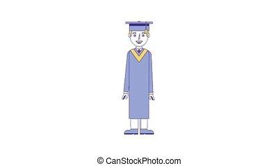 kawaii food online - graduate man in graduation robe and hat...
