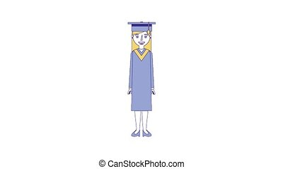 kawaii food online - graduate woman in graduation robe and...
