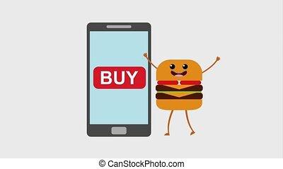 kawaii food online - smartphone and cartoon burger order...