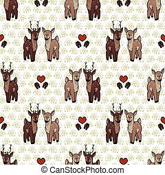 Kawaii forest doe and buck love vector illustration. Stag ...