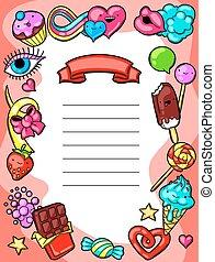 kawaii, fou, candies., diplôme, bonbons, sweet-stuff, style, dessin animé