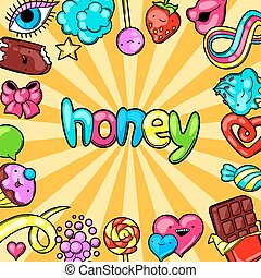 kawaii, fou, candies., style, bonbons, sweet-stuff, fond, dessin animé